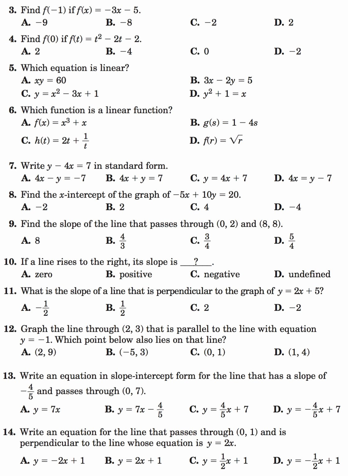 Writing Equations Of Lines Worksheet New 2 4 Practice Writing Linear Equations Glencoe Algebra
