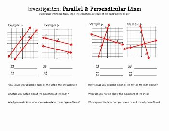 Writing Equations Of Lines Worksheet Unique Equations Of Parallel & Perpendicular Lines Discovery