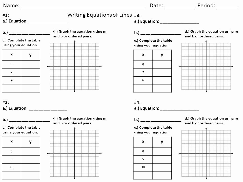 Writing Linear Equations Worksheet Answer Awesome Writing Linear Equations From A Table Worksheet Lesson 5 2