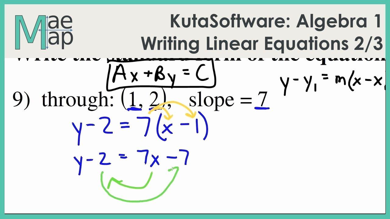 Writing Linear Equations Worksheet Answers Inspirational Kutasoftware Algebra 1 Writing Linear Equations Part 2