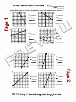 Writing Linear Equations Worksheet Awesome Writing Linear Equations From Graphs Worksheet W Key A