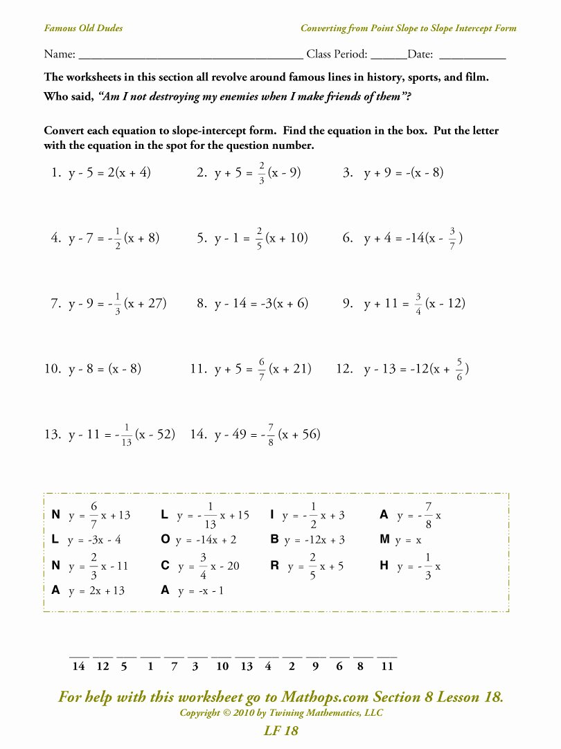 Writing Linear Equations Worksheet Beautiful Lf 18 Converting From Point Slope to Slope Intercept form