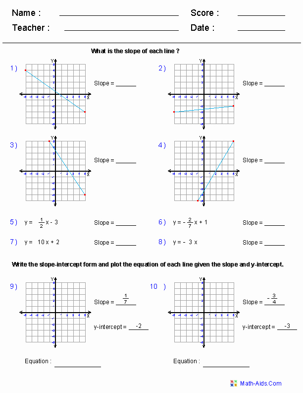 Writing Linear Equations Worksheet Lovely Algebra 1 Worksheets