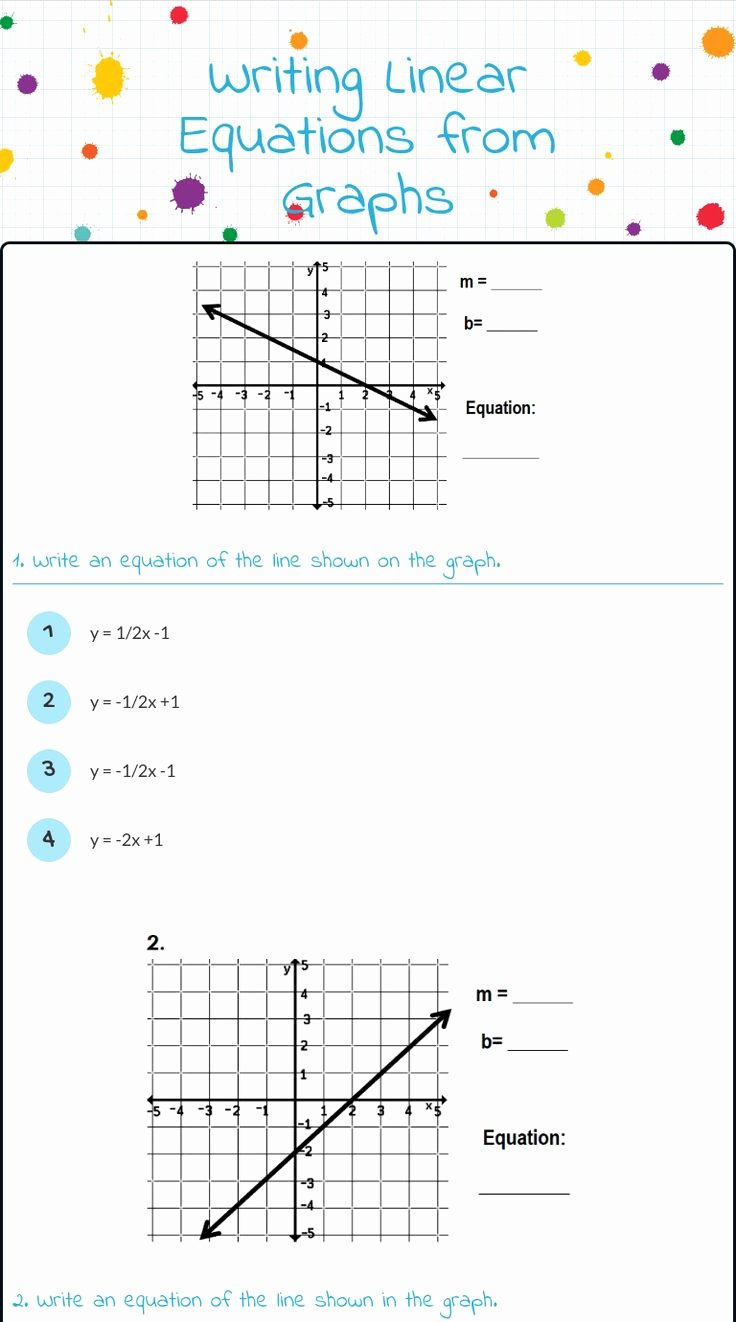 "Writing Linear Equations Worksheet Lovely Wizer Me Blended Worksheet ""writing Linear Equations From"