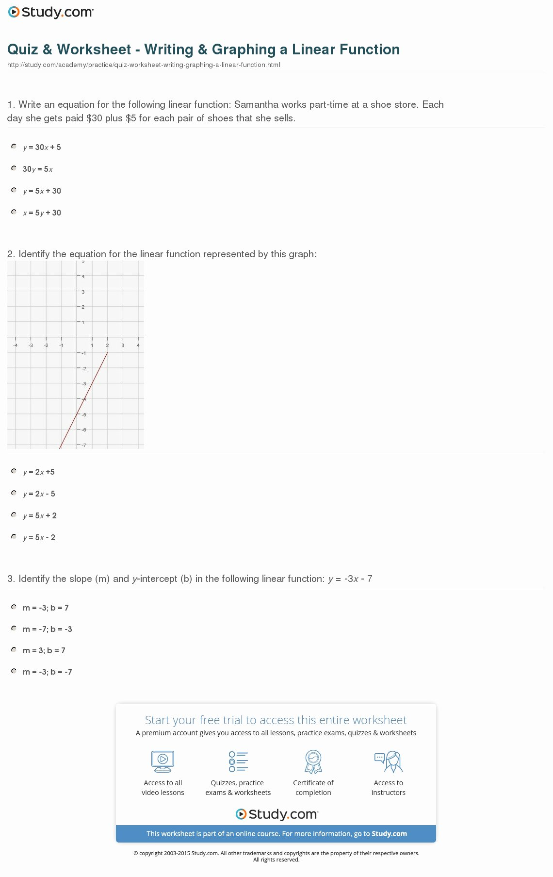 Writing Linear Equations Worksheet Luxury Quiz & Worksheet Writing & Graphing A Linear Function