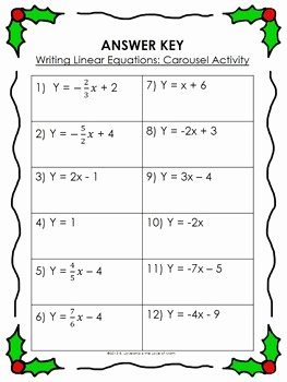 Writing Linear Equations Worksheet Luxury Writing Linear Equations Carousel Activity by 4 the Love