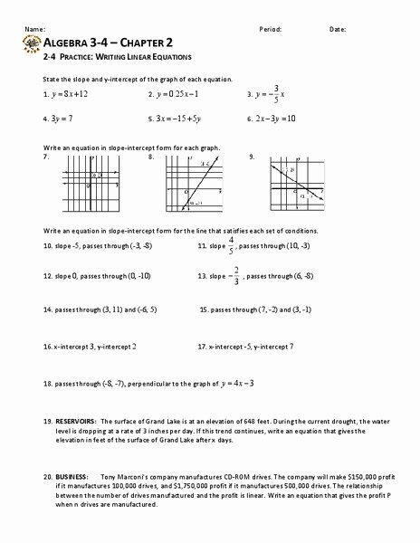 Writing Linear Equations Worksheet Luxury Writing Linear Equations Worksheet for 9th Grade