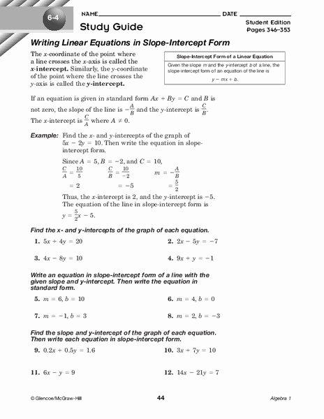 Writing Linear Equations Worksheet New Writing Linear Equations In Slope Intercept form Worksheet