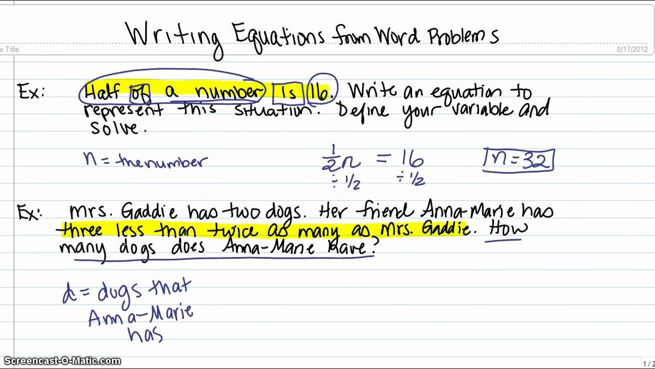 Writing Two Step Equations Worksheet Awesome Writing Equations From Word Problems