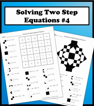 Writing Two Step Equations Worksheet Best Of solving Two Step Equations Color Worksheet Practice 4 by