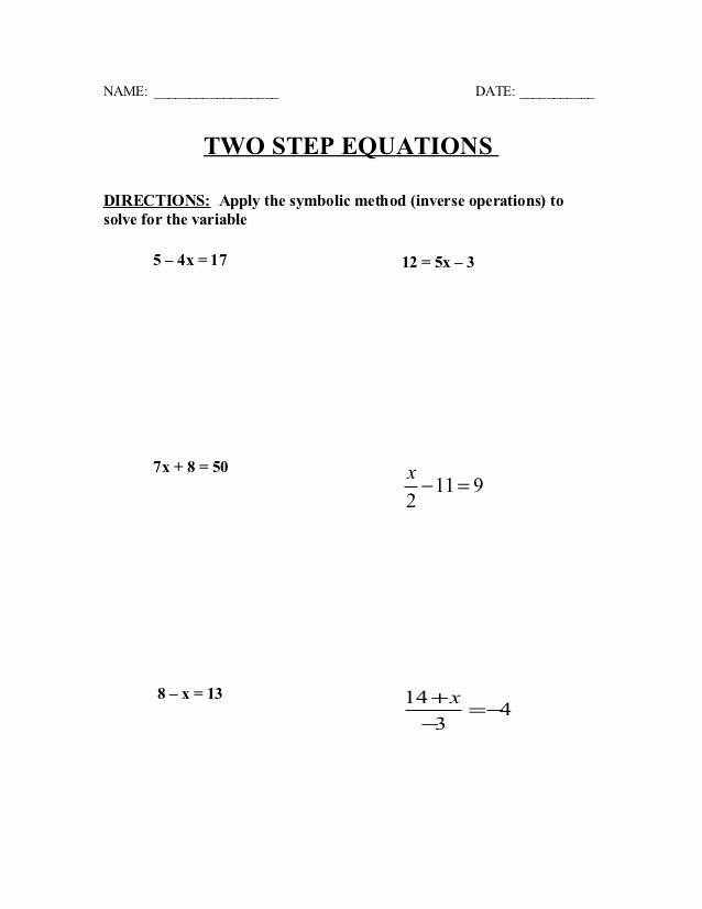 Writing Two Step Equations Worksheet Inspirational Two Step Equations Quiz Practice