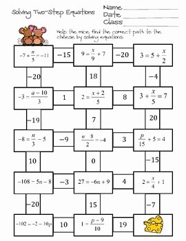 Writing Two Step Equations Worksheet Lovely solving Two Step Equations Maze by Ayers Math Flairs