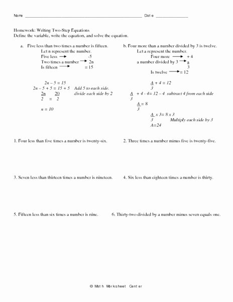 Writing Two Step Equations Worksheet Luxury Homework Writing Two Step Equations Worksheet for 7th