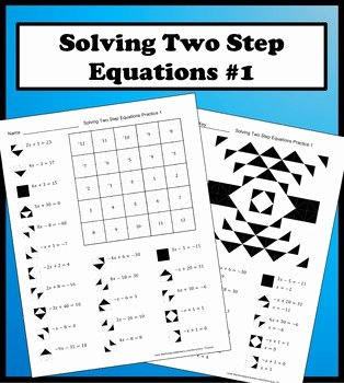 Writing Two Step Equations Worksheet New solving Two Step Equations Color Worksheet Practice 1 by