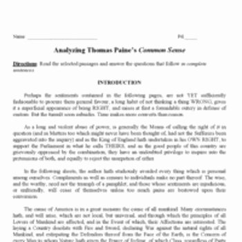 Written Document Analysis Worksheet Answers Awesome Primary Document Analyzing Mon Sense by Thomas Paine