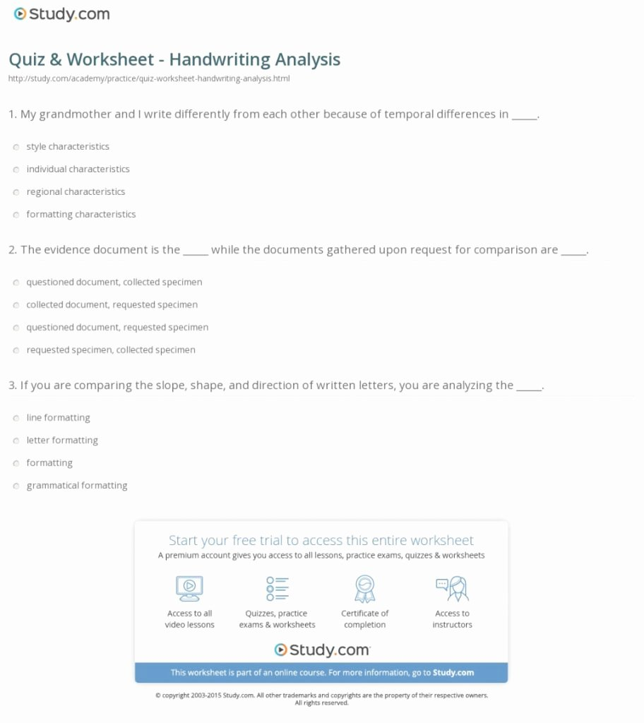 Written Document Analysis Worksheet Answers Best Of the Best Template Of Quiz Worksheet Handwriting Analysis