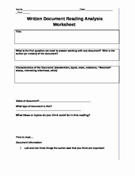 Written Document Analysis Worksheet Answers Inspirational Mon Core Written Document Reading Analysis Worksheet by
