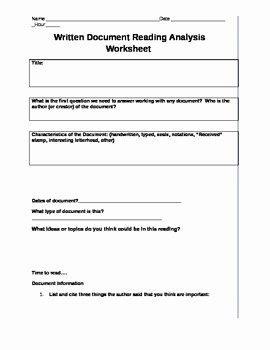 Written Document Analysis Worksheet Answers Inspirational Mon Core Written Document Reading Analysis Worksheet by