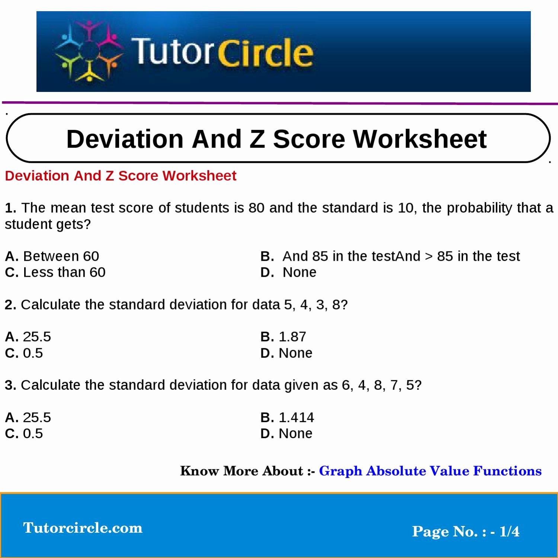 Z Score Practice Worksheet Beautiful Deviation and Z Score Worksheet by Tutorcircle Team issuu