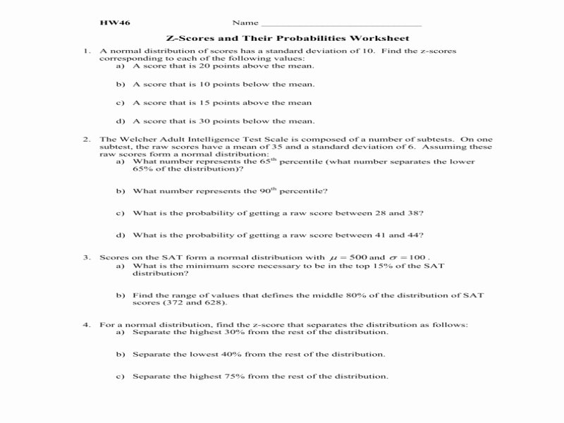 Z Score Practice Worksheet Best Of Hw46 Z Scores and their Probabilities Worksheet Free