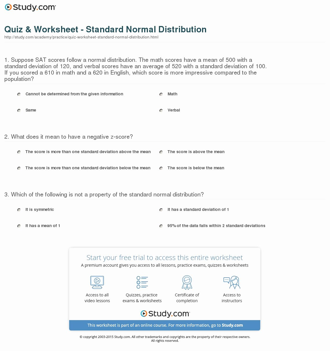 Z Score Practice Worksheet Elegant Quiz & Worksheet Standard normal Distribution