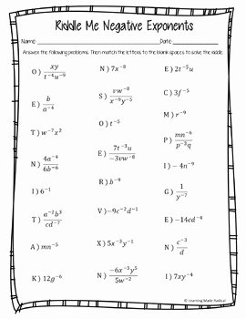 Zero and Negative Exponents Worksheet Best Of Negative Exponent Riddle Me Worksheet by Learning Made