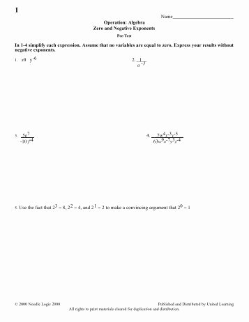Zero and Negative Exponents Worksheet Best Of Negative Exponents Worksheet Key