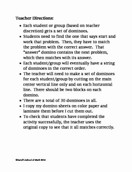 Zero and Negative Exponents Worksheet Fresh Negative and Zero Exponent Rules Domino Activity 30