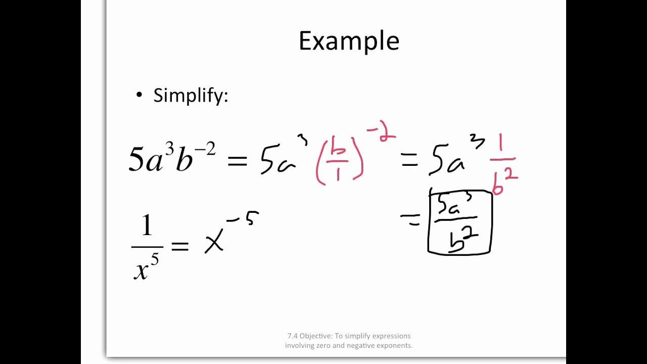 Zero and Negative Exponents Worksheet Inspirational Zero and Negative Exponents Worksheet 7 1 Answers