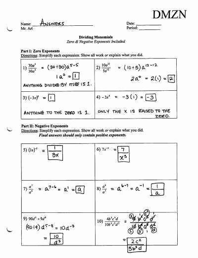 Zero and Negative Exponents Worksheet Inspirational Zero and Negative Exponents Worksheet