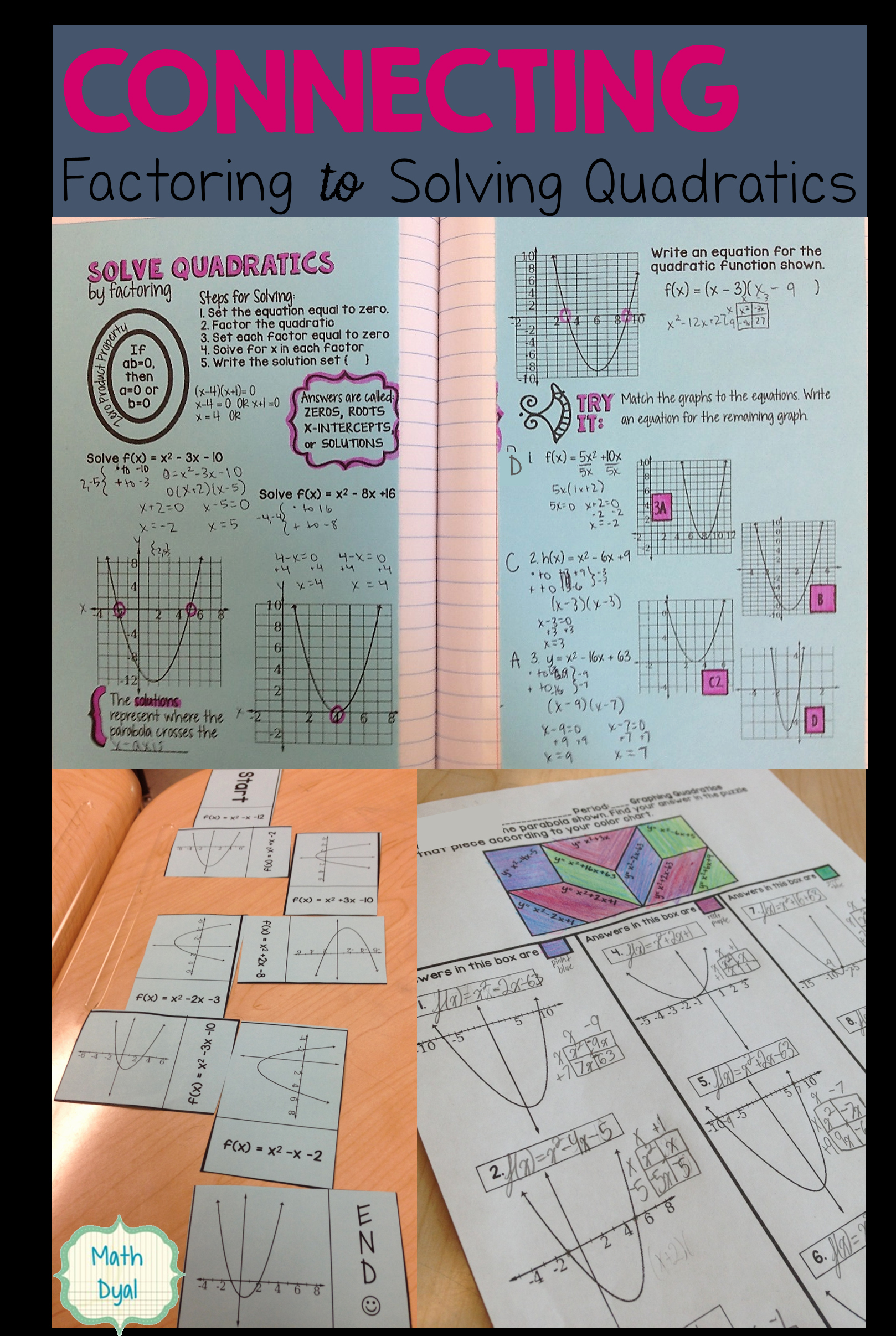 Zero Product Property Worksheet Elegant solve Quadratic Equations by Factoring with these Fun
