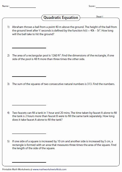 Zero Product Property Worksheet Elegant Word Problems Involving Quadratic Equations