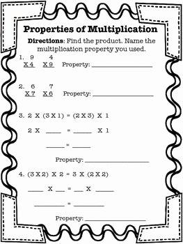 Zero Product Property Worksheet Fresh Properties Of Multiplication