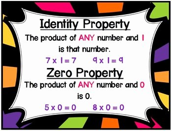 Zero Product Property Worksheet Unique Properties Of Multiplication Posters by Jennie Kottmeier
